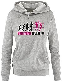 Comedy Shirts - Volleyball Evolution - Damen Hoodie - Gr. S-XL Versch. Farben