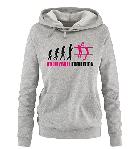 Comedy Shirts - Volleyball Evolution - Damen Hoodie - Grau/Schwarz-Pink Gr. M