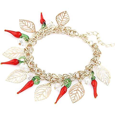 Colore: Rosso/Verde delicato foglie ciondolo oro tono catena Link bracciale