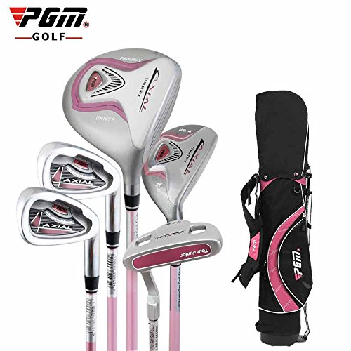 Junior Golfschläger-Set mit Standtasche, zwei Farben zur Wahl, schwarz / rosa, 9-12 years old,130-150cm tall