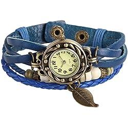 Best-Selling Reto Women Ladies Boho Chic Cute Bronze Leaf Leather Weave Wrap Dress Bracelet Watch - Deep Blue