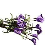 Künstlichen Calla Lily Blumen,SuperSU Brautstrauß Calla Lilien Milchweiß für Zuhause Balkon Tisch Hochzeits Office Bouquet Dekoration Mutterstag 1 Bouquet Kunstblumen Kaufen (Lila#)