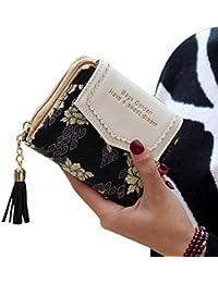 billetera mujer, Webla Cartera de embrague de la borla de las mujeres de la manera pequeño bolso de la cartera del sostenedor de tarjeta de la cremallera