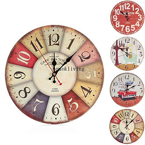 HONG98 3D Reloj de Pared de Madera de la Vendimia Redondo Interior silencioso Creativo de dígitos/No Tick Tack Ruido Reloj de Pared para No Ruidos,Cocina, Decoración de la Sala de Estar (D)