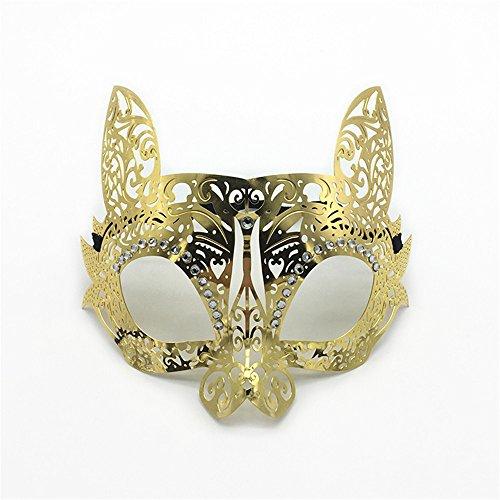 ParttYMask Maskerade,Diamant Make-up Tanz Phönix-Party Maske Hasen-Katze Gesicht Half Face Venedig Metall Schmiedeeisen Maske Gold Masquerade