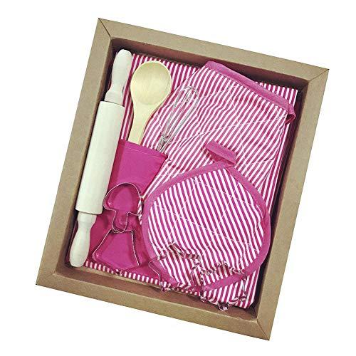 (Chef Kostüm Kinder Kochschürze Set Kleinkind Kochen und Backen Set Kids Chef Rollenspiel-Kostüm-Set mit Schürze, Kochmütze, Kochutensilien für Jungen und Mädchen ab 3 Jahren)
