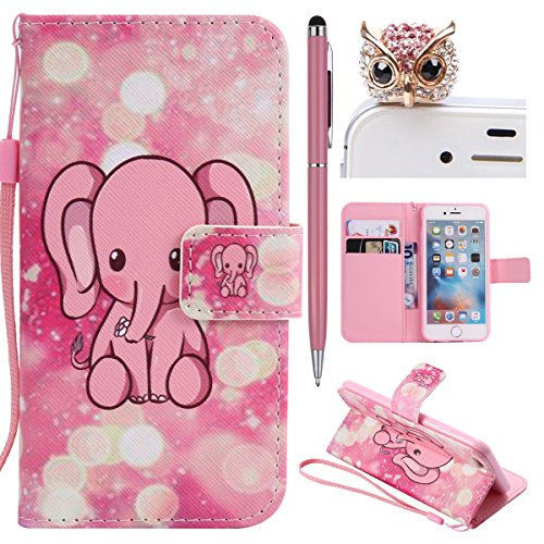 iPhone 6 Hülle,iPhone 6S Case - Felfy Flip Bookstyle Wallet Luxe Handyhülle Retro Painted Niedlich Farbe Muster Premium Slim PU Leather Stand Wallet Flip Lederhülle Case Cover Pouch Shell Soft mit TPU Rosa Elephant Cas