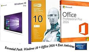 Essential pack - Windows 10 + Office 2016 + Antivirus ESET NOD32 - 100% Genuine