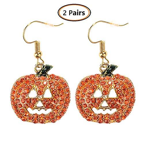 DANSPEED 2 Paar Halloween Kürbis Ohrringe Red Crystal Dangle Ohrring Urlaub Schmuck Dekoration Frauen Mädchen