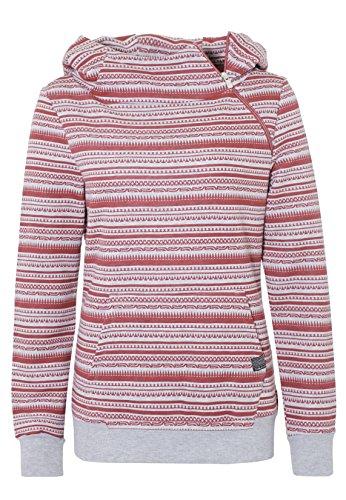 SUBLEVEL Damen Hoodie mit Ethno-Print | Sportlicher allover Print Kapuzenpullover Light-Grey