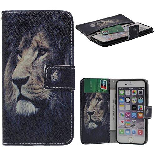 """Foliant Flip Hülle Schutzhülle für iPhone 6 6S 4.7"""", Karte Halter Brieftasche Funktion, Hübsch Tier Gedruckt Malerei Stil ( Leopard ) Case Handy Tasche für Apple iPhone 6S 4.7 Zoll A1"""