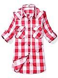 OCHENTA Frauen Langarm Hemd kariert viele Farben Weiß, Rot (Dünn) 36