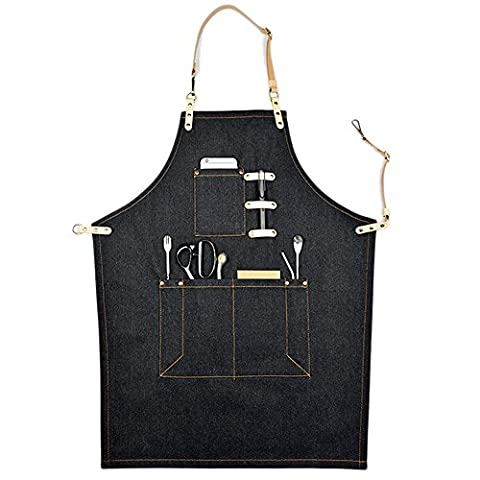 Perfashion Cool Men's Apron Chef Works with Adjustable Neck Straps & Waist Multi Pockets Light Brown S