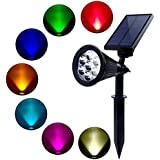 Quace 7 LED Dark Sensing Auto on/off Solar Garden Lights Outdoor for The Yard Patio Stair Pool - Waterproof (Changing Color & Fixed Color) - 1 Unit