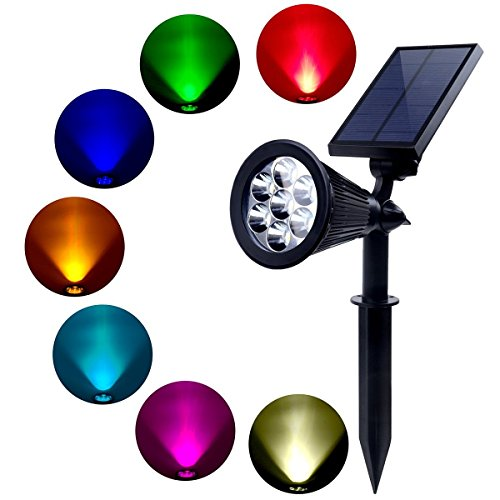 Solar Strahler, 7 LED Farbwechsel Wasserdichte Outdoor Solarleuchten 180 Winkel Einstellbare Wall Landschaft Lampe Sicherheitsbeleuchtung mit Auto An/Aus für Terrasse Garden Driveway Pathway