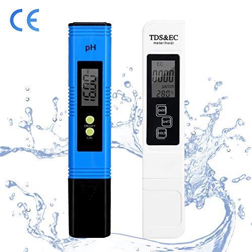 Karidge pH Messgerät Digital Wasserqualität Tester,mit LCD Display TDS PH EC Meter Wasserqualitätstest Messgerät für Trinkwasser, Lebensmittel,Thermen,Aquarien,Hydroponik und ander 2 in 1Set