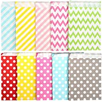Kesote 100 Bolsas de Papel para Caramelos Bolsas de Papel para Regalos de 10 Diferentes Patrones, Olas, Punto y Rayas diagonales (Colores aleatorios)
