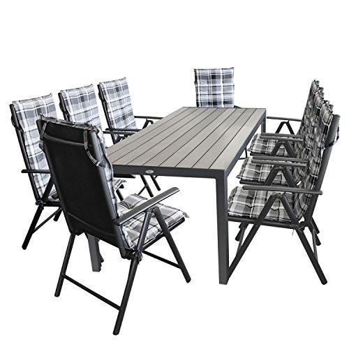 17tlg. Gartengarnitur Gartenmöbel Terrassenmöbel Set Sitzgarnitur Sitzgruppe Polywood 205x90cm grau + 8x Hochlehner, 2x2 Textilenbespannung, Lehne 7-fach verstellbar + 8x Stuhlauflage grau kariert