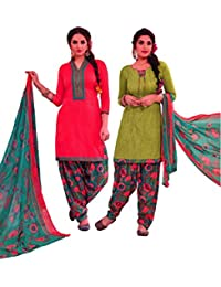 EasyToShop Retail Women's Cotton Printed Salwar Suits Unstiched Dress Materials (Combo Pack Of 2) _AMVRRR004_Peach...
