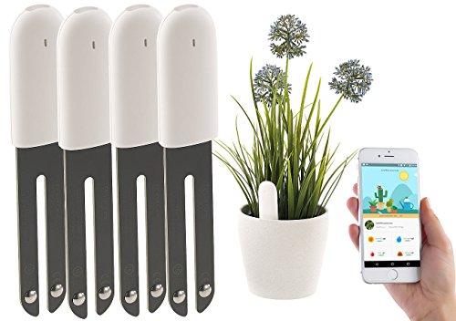 Royal Gardineer Gießanzeiger: 4in1-Pflanzensensor SUN-141 mit Bluetooth und App-Kontrolle, 4er-Set (Feuchtigkeitsmesser Pflanzen)