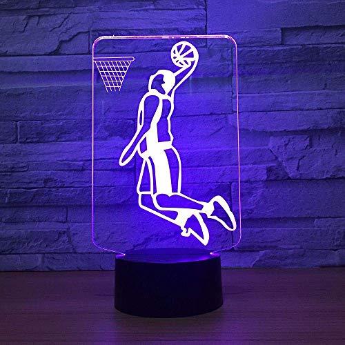 Slam Dunk Spielen Basketball 3D Led Lampe Beleuchtung 7 Farbwechsel Sport 3D Nachtlicht Haus Raumdekoration Beste Freunde Kind Geschenk (Basketball Slam Dunk Spiel)