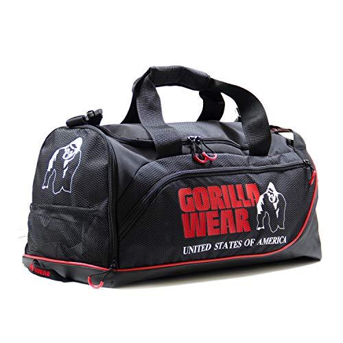 GORILLA WEAR Jerome Gym Bag - Schwarz/Rot - Bodybuilding und Fitness Sporttasche Herren
