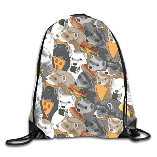 Drawstring Backpack Bags Ferrets Snack Foods Medium Pizza Tacos Cheeseburger Sushi Pretzel Fries Cheese Puffs Sport Athletic Gym Sackpack for Men Women