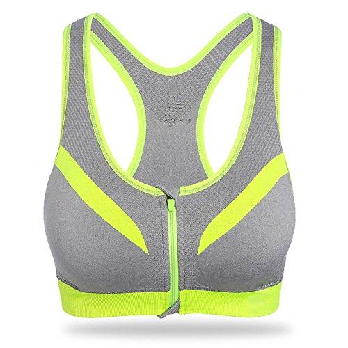 Brightup Femmes Yoga Sport Débardeur Bra Athlétique Dos nageur Soutien Gorge Avant Zipper Gris