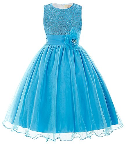 Prinzessin Hochzeit Party Festzug Kleid Champagner ,7 jahre,  Blau ()