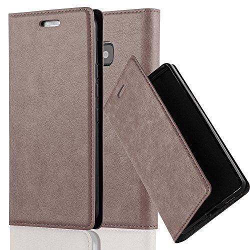 Cadorabo Hülle für HTC ONE M9 (3.Gen.) - Hülle in Kaffee BRAUN – Handyhülle mit Magnetverschluss, Standfunktion und Kartenfach - Case Cover Schutzhülle Etui Tasche Book Klapp Style