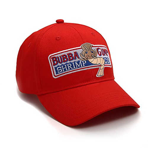 nofonda Unisex Forrest Gump Cap, Baseballmütze mit Besticktem Bubba Gump Shrimp Co. Logo, Snapback Hut als Cosplay-Kostüm Zubehör oder Geschenk, für Sport oder Freizeit (Rot) (Garnelen Kostüm Hut)