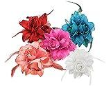 BONAMART 5 Stück Haarclip Haarklipp Blumen Haarklammer Haarspange Ansteckblume Brosche Feder
