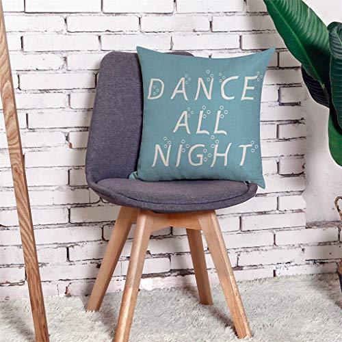 Qinpin Kissenbezüge, Home Kissenbezug, Tanz, Ganze Nacht, Überwurf, Kissenbezug, Leinen-Mischgewebe, h, 45cm * 45cm / 18 * 18