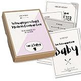 Schwangerschaft-Meilensteinkarten, 31 geschlechtsneutrale Motive in Erinnerungsbox aus Kraftpapier - Sue & Balou