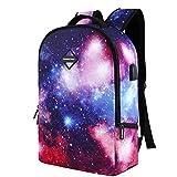 Shujin Unisex Mode Schulrucksack Galaxy Nebel Sterne Print mit USB Port College Tasche Schultasche Wandern Reise Rucksack Daypacks für Teenager Mädchen Jungen