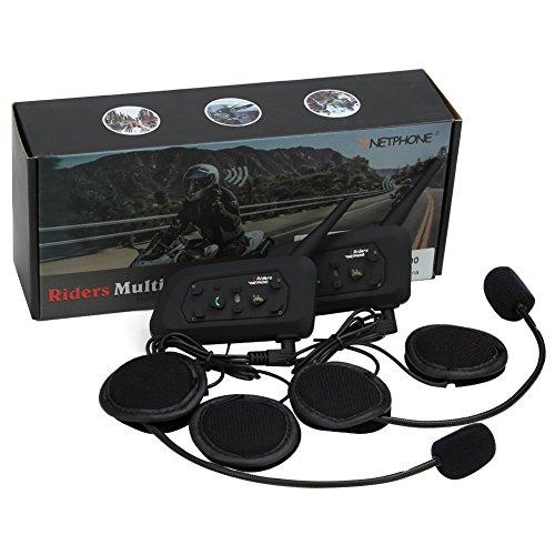 Rupse V6 Intercom Bluetooth intercom, 1200M Full Duplex Wireless Motorcycle Helmet Motorradhelm wasserdichte Kommunikations System für Motorräder Motorrad Gegensprechanlage mit Mikrofon(2 Packs) Full-duplex Wireless