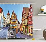 German Shower Curtain, Rothenburg OB der Tauber Bavaria Germany Famous Street with Colorful Classic Houses, Cloth Fabric Bathroom Decor Set with Hooks, 60W X 72L Inche Long, Multicolor