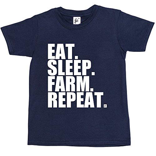 eat-sleep-farm-repeat-farming-farmers-tractor-kids-boys-girls-t-shirt-size-9-11-year-old-colour-navy