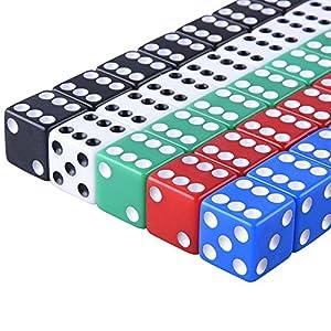 AUSTOR 50 Piezas Conjunto de Dados de 6 Caras con Bolsas Gratuitas para Aprendizaje de Matemáticas, Casino, Juegos, 5 Colores