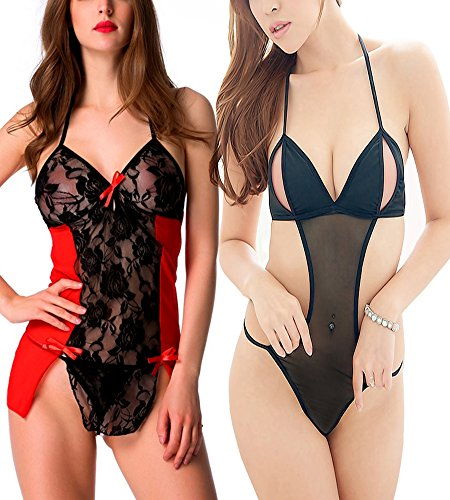 PHWOAR Women pack of 2 Hot Sexy Lingerie Mini Babydoll Sleepwear Strap lace Dress