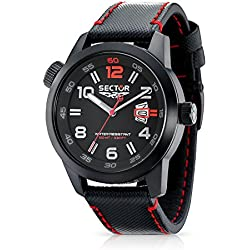 Sector Men's Quartz Watch with Black Dial Analogue Display and Black Leather Strap R3251102325