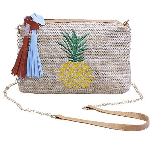 TENDYCOCO Ananas Umhängetasche Stroh Tasche Quasten Stickerei Umhängetasche für Luau Hawaiian Summer Beach Party Supplies