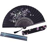 Kakoo seta ventaglio pieghevole cinese stile vintage erba fiore modello design tenuto in mano ventilatore con manicotto protettivo e scatola regalo per festa di nozze danza puntelli Home Decoration