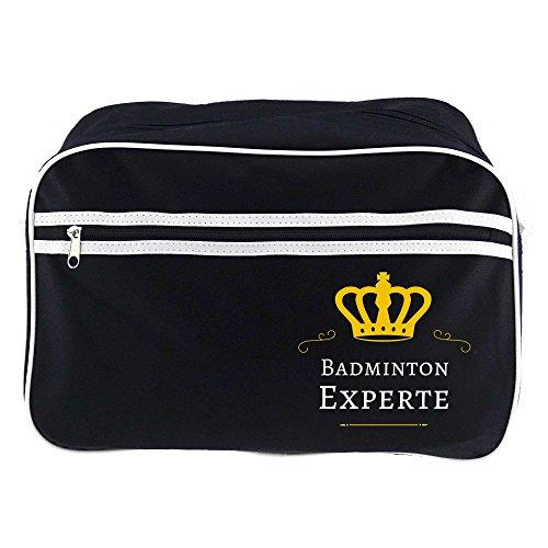 Retrotasche Badminton Experte schwarz