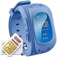 Orologio Intelligente Kids TKSTAR GPS Tracker Bambini con Funzione di vita vocale SOS Calling (Blu Scuro)