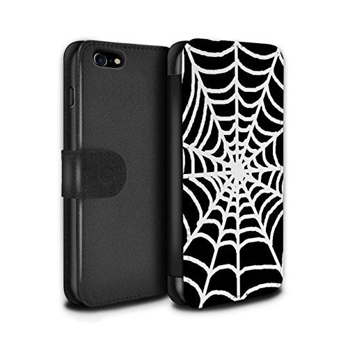 Stuff4 Coque/Etui/Housse Cuir PU Case/Cover pour Apple iPhone 7 / Pétales Minuscules Design / Mode Noir Collection Toile d'araignée