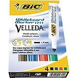 BIC Velleda Pack de 4 Feutres effaçable à sec Couleurs Assorties