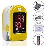 Fingertip Pulsoximeter Herzfrequenz Monitor Blut Sauerstoffsättigung SpO2Sensor LED Display mit Tragetasche, Riemen & Akku (gelb)