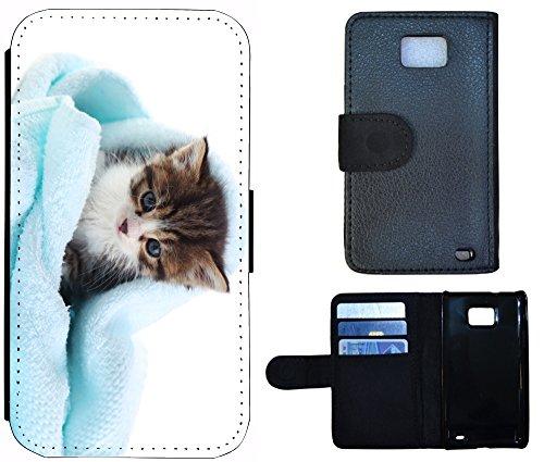 Flip Cover Schutz Hülle Handy Tasche Etui Case für (Apple iPhone 4 / 4s, 1176 Giraffe Animiert Braun Weiß) 1180 Katze Kätzchen Katzen Baby Blau Braun