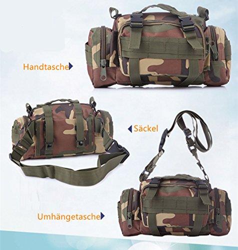 5 All Sling-Rucksack Sling Bag Taschen Taktische Rucksack Wanderrucksack Kleine Rucksäcke Kletterrucksack Outdoor Sports Camouflage Trekkingrucksack als Radfahr Jogging-Rucksack Camou A2
